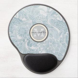Blue Floral Monogram Gel Mouse Pad