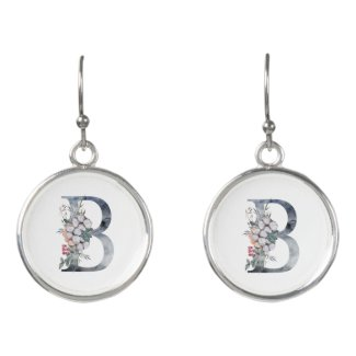 Blue Floral Monogram Initial B Earrings