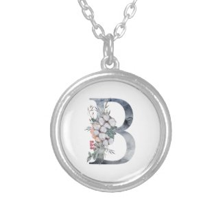 Blue Floral Monogram Initial B Silver Plated Necklace