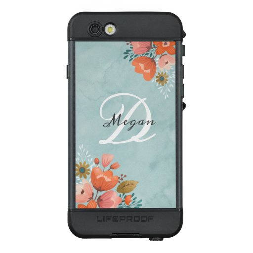 Blue Floral Monogram LifeProof Case