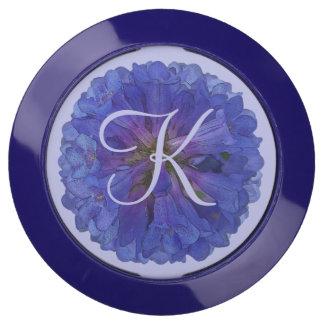Blue Floral Monogram USB Charging Station