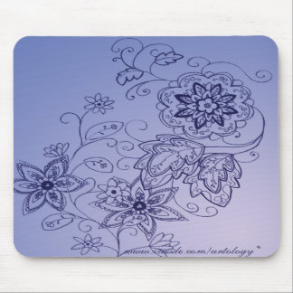 Blue Floral Mousepad