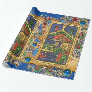 BLUE FLORAL NATIVITY CHRISTMAS PARCHMENT AND GEMS WRAPPING PAPER