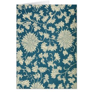 Blue Floral Notecard (4) - Vertical