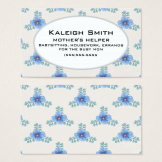 Blue Floral on White Mother's Helper Business Card