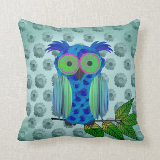 Blue Floral Owl Throw Pillow