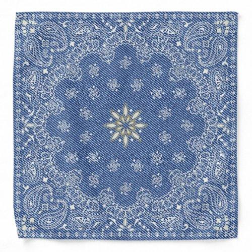 Blue Floral Paisley Denim Countryside Bandana