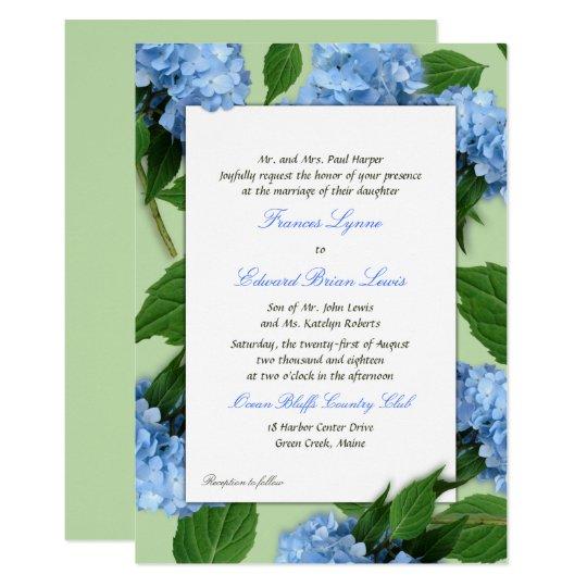 Blue Floral Parents Names Wedding Invitation