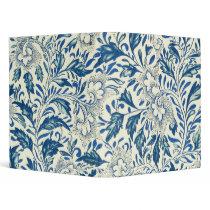 Blue floral Pattern Antique Vintage 3 Ring Binder