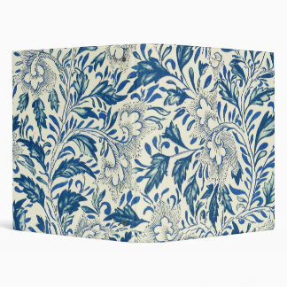 Blue floral Pattern Antique Vintage 3 Ring Binder