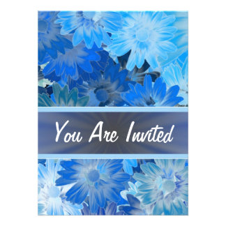 Blue floral pattern any occasion custom invitation