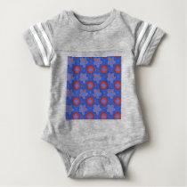 blue floral pattern baby bodysuit