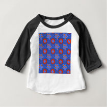 blue floral pattern baby T-Shirt