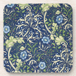 Blue Floral Pattern Beverage Coaster