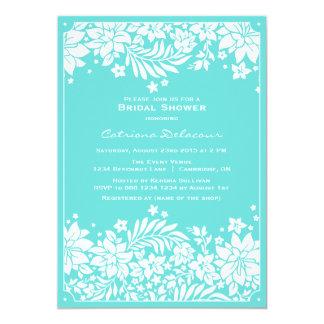 Blue Floral Pattern Bridal Shower Invitation
