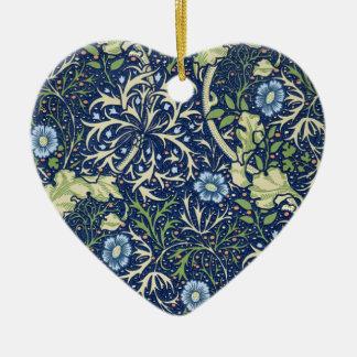 Blue Floral Pattern Ceramic Ornament