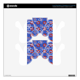 blue floral pattern decal for PS3 controller