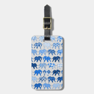 Blue Floral Pattern Elephants Luggage Tag