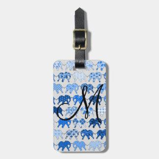 Blue Floral Pattern Elephants Monogram Luggage Tag