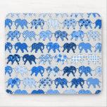 Blue Floral Pattern Elephants Mouse Pad