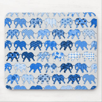 Blue Floral Pattern Elephants Mouse Pad