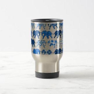 Blue Floral Pattern Elephants 15 Oz Stainless Steel Travel Mug
