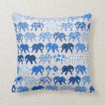 Blue Floral Pattern Elephants Pillow