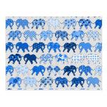 Blue Floral Pattern Elephants Postcard