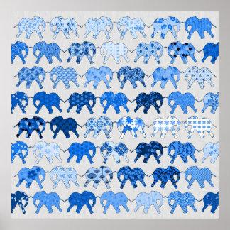 Blue Floral Pattern Elephants Poster