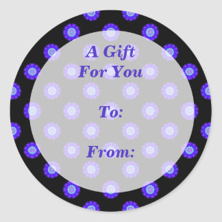 Blue floral pattern gift tag round stickers
