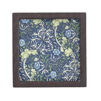 Blue Floral Pattern Keepsake Box