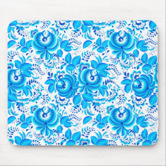 Blue floral pattern mouse pad
