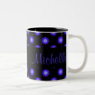 Blue floral pattern mug