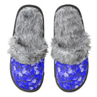 Blue Floral pattern. Pair Of Fuzzy Slippers