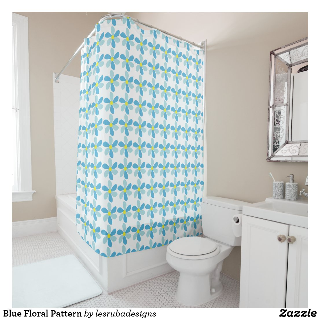 Blue Floral Pattern Shower Curtain