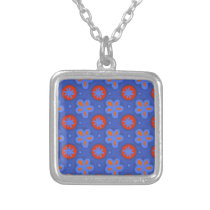 blue floral pattern silver plated necklace