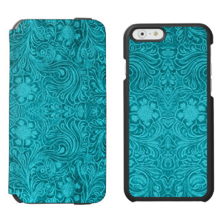 Blue Floral Pattern Suede Leather Look iPhone 6/6s Wallet Case