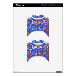 blue floral pattern xbox 360 controller skin