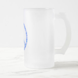 Blue Floral Peace Frosted Glass Beer Mug