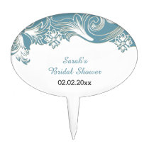 blue floral Personalized Cake Picks