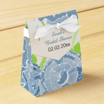 blue floral personalized favor boxes