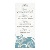 blue floral Personalized Menu cards