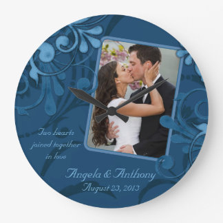 Blue Floral Personalized Photo Template Wall Clock