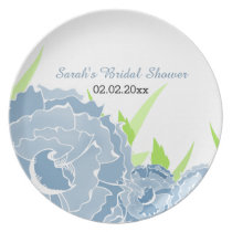 blue floral Personalized Plate