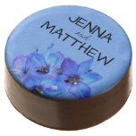 Blue Floral Personalized Summer Wedding Chocolate Dipped Oreo