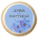 Blue Floral Personalized Summer Wedding Round Shortbread Cookie