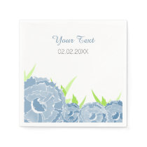 blue floral personalized wedding napkins