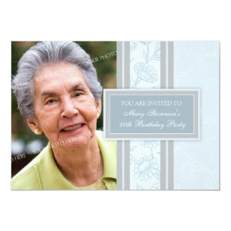 "Blue Floral Photo 80th Birthday Party Invitations 5"" X 7"" Invitation Card"