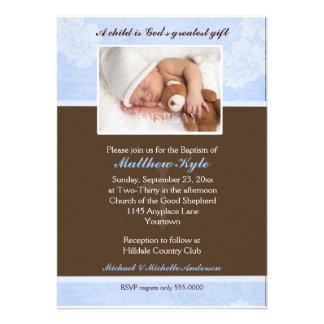 Blue Floral Photo Baptism Invitation