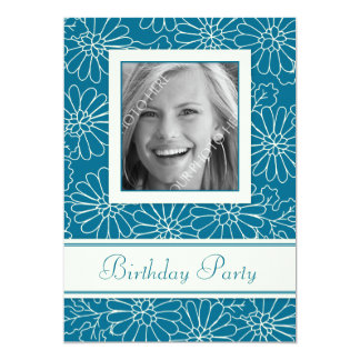 Blue Floral Photo Birthday Party Invitations